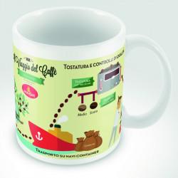 """Tazza mug decorata """"Il viaggio del Caffè""""- 1 pezzo"""