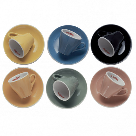 6 multi-colors cappuccino cups set